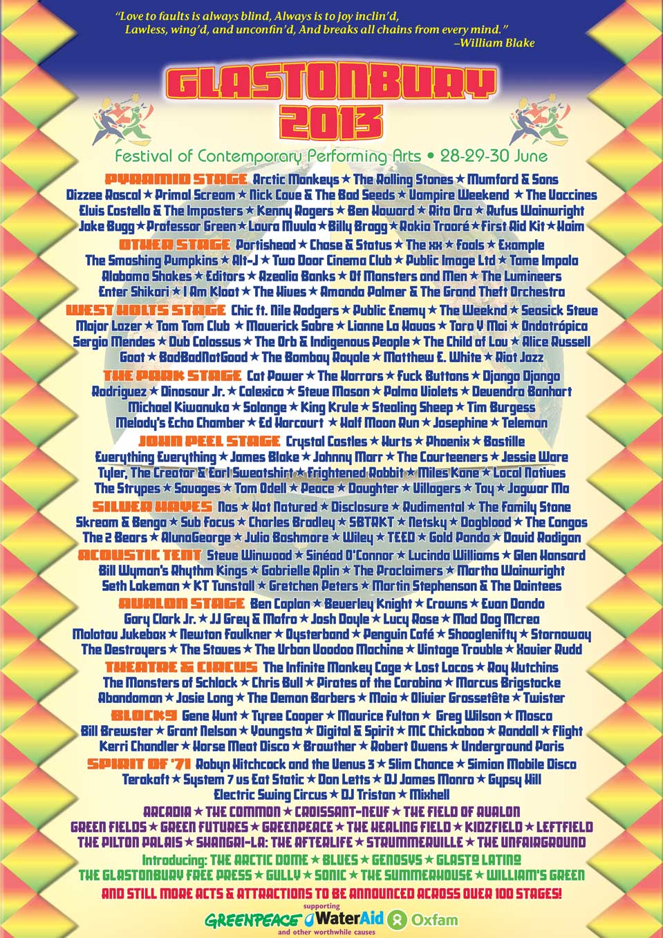 Glastonbury Festival 2013 Poster showing list of groups performing
